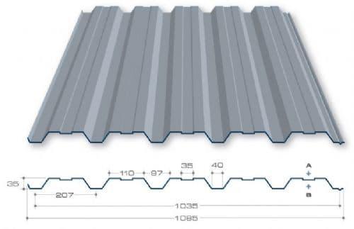 afmetingen trapezium dakplaat