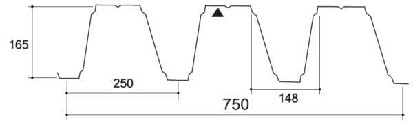 Steeldeck 170mm doorsnede met afmetingen