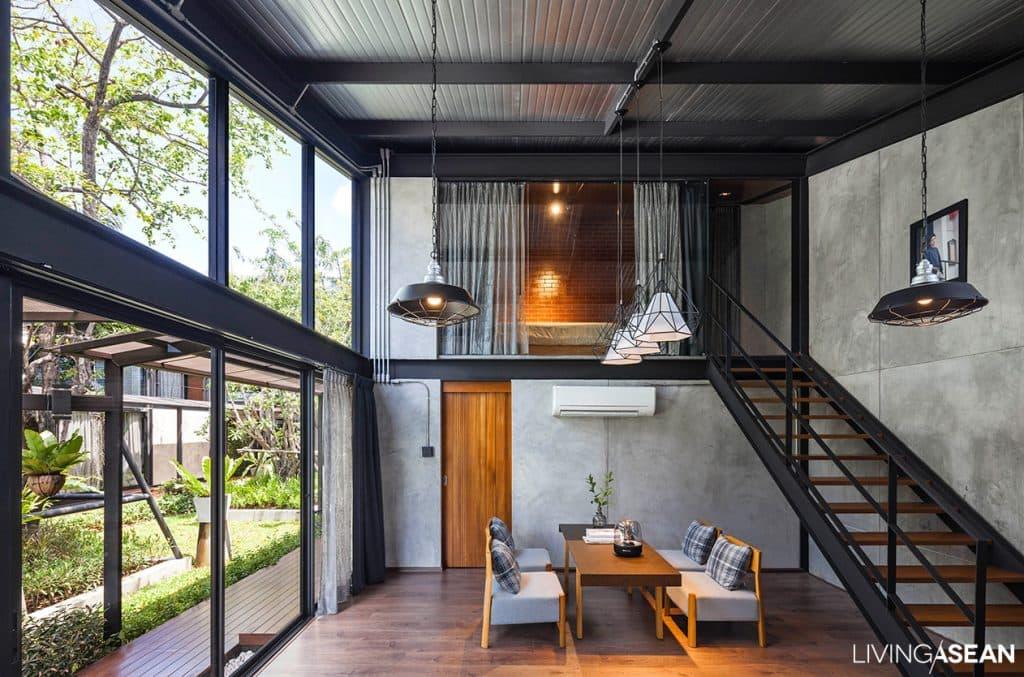Industriële woning met staal en beton