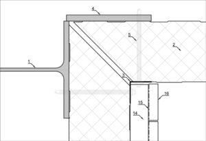 Aansluiting tussen hout en sandwichpaneel als binnenhoek