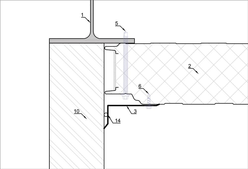 Detail plooiwerk voor binnenhoek van metselwerk met sandwichpaneel