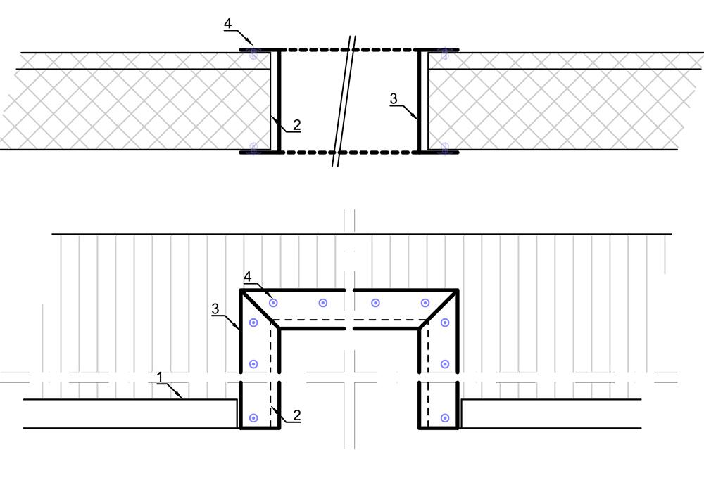 Detail schrijnwerk - ramen en deuren in sandwichpanelen binnenwand