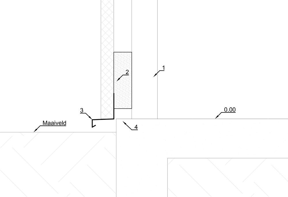 Detail aansluiting sandwichpaneel met houtkolom op betonplaat