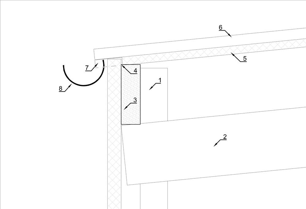 Detail dakgoot aan eco sandwichpaneel